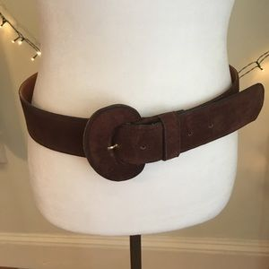 Vintage Talbots Wide Genuine Suede Brown Belt